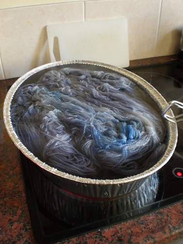 Blue Yarn being Dyed