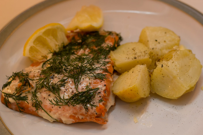 Salmon and Potatoes dinner.
