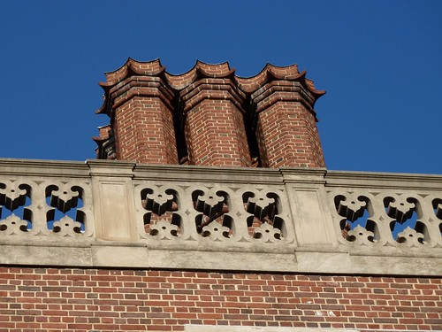 The roof line and chimneys