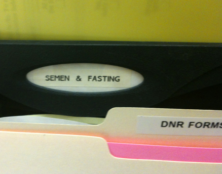 File in doctor's office reads: Semen & Fasting.