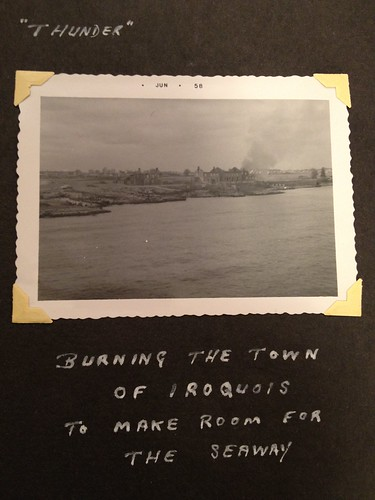 Burning the town of Iroquois to make room for the seaway. -As seen from HMCS Thunder 1957