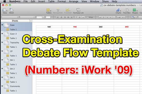 CX Debate Flow Template for Numbers in iWork '09