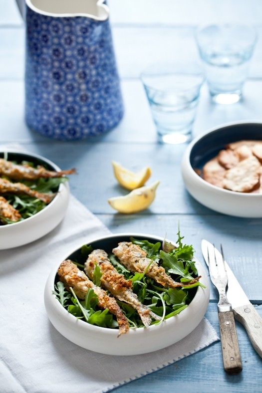 Pan Fried Smelts & Salad