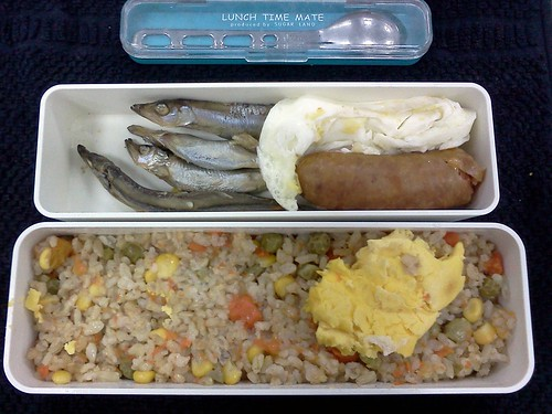 午餐 ::: 柳葉魚+起司香腸+蛋之蔬菜炊飯 by 南南風_e l a i n e