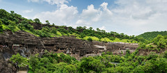 Panoramic view of Ajanta Caves