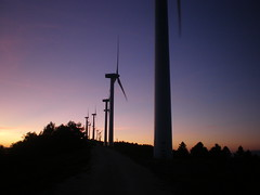 Gamesa G47 wind turbines at sunset