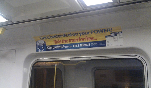 Advert inside a Comeng train