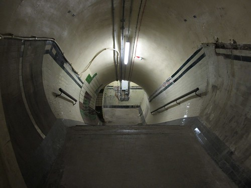 Staircase down to the older platform