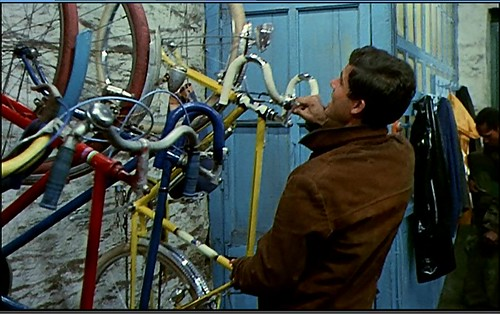 Les Parapluies de Cherbourg _ Bike rack at the garage