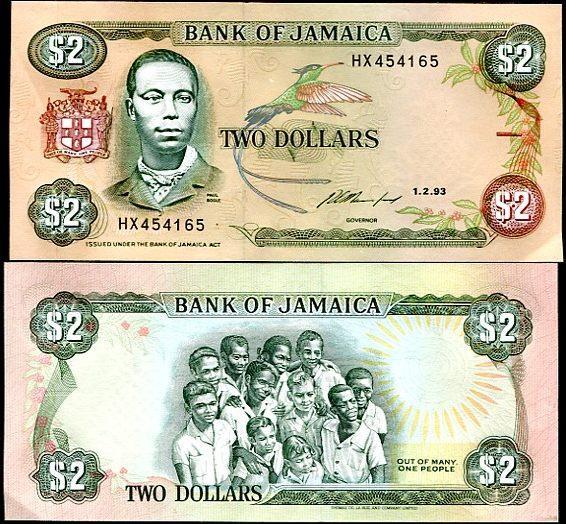 2 Doláre Jamajka 1993, Pick 69e