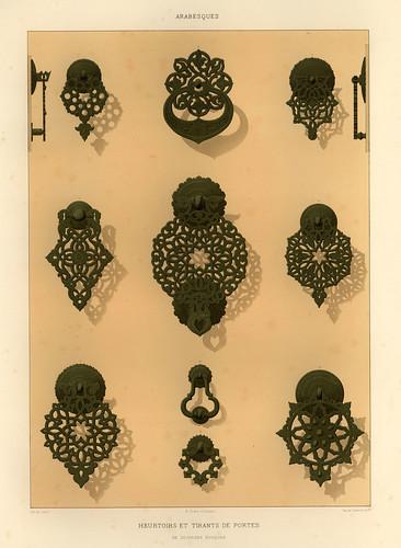 010-Aldabas y tiradores de puertas-epocas diversas-L'art arabe d'apres les monuments du Kaire…Vol 2-1877- Achille Prisse d'Avennes y otros.