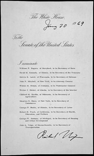 Message of President Richard M. Nixon nominating his cabinet, including William Rogers to be Secretary of State, 01/20/1969