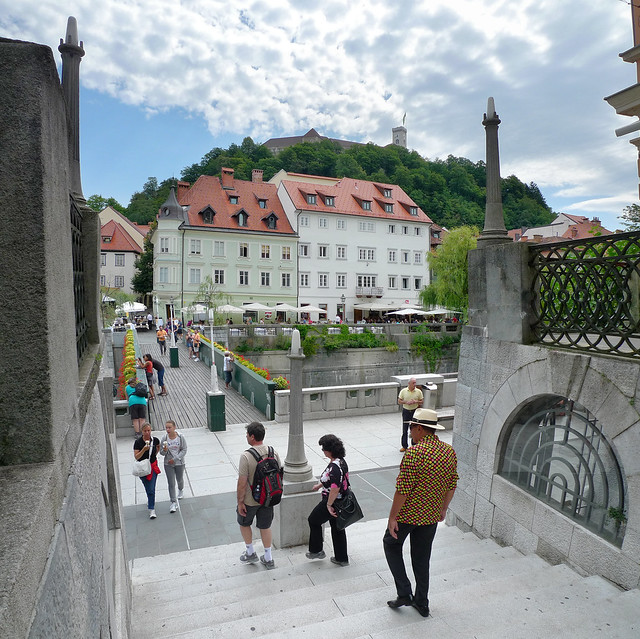 People walking down the Ljubljanica river