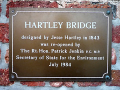 Photo of Jesse Hartley and Hartley Bridge brown plaque