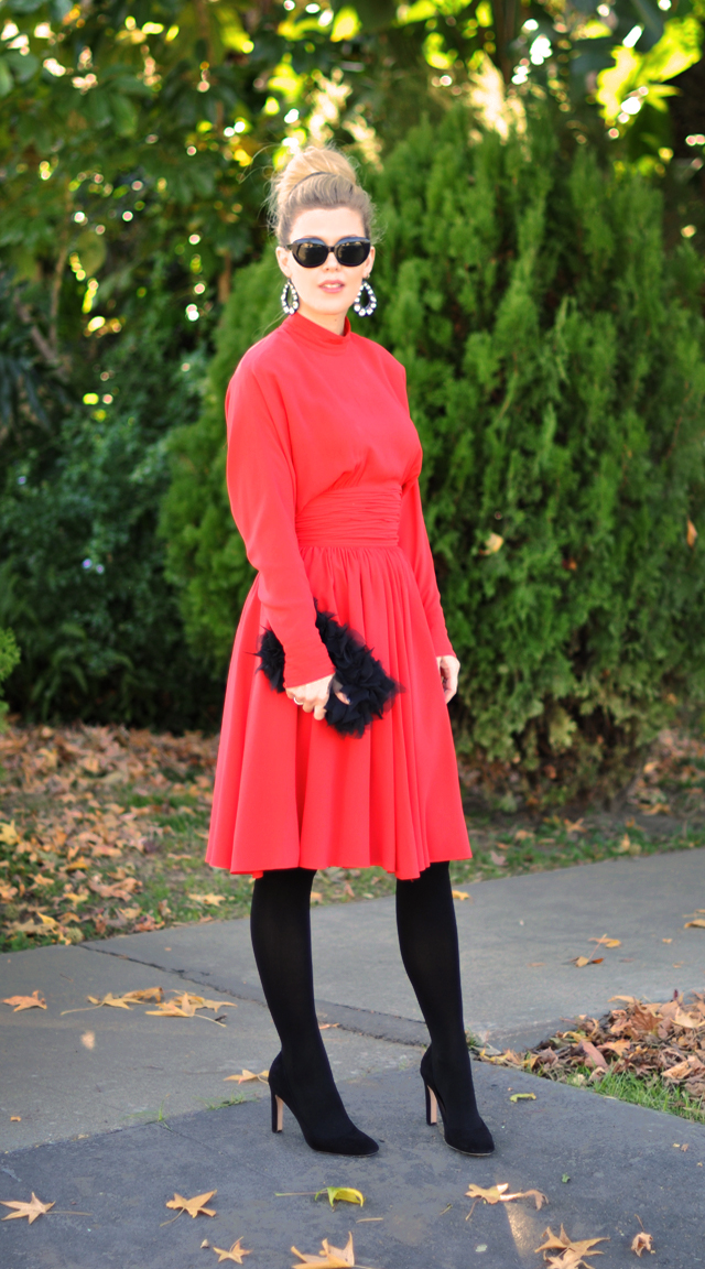 vintage red dress-karl lagerfeld-red and black