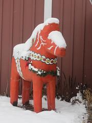 Snow-Covered Dala Horse