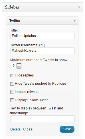 Twitter Feed Settings - WordPress.com