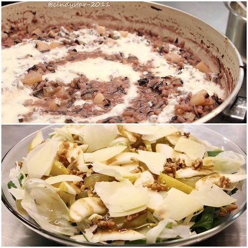 orzotto radicchio rosso, pere e crema allo stracchino-bianca insalata