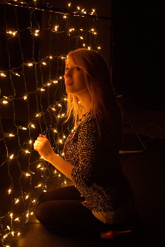 Julie in the Christmas lights by The Bacher Family