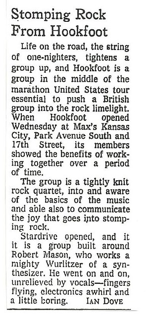 05-25-73 NYT Review - Hookfoot @ Max's Kansas City