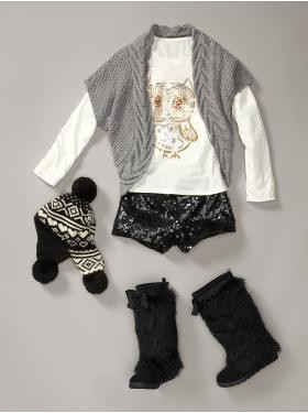 Clothing ensemble from the Gap including a pair of sequined shorts for young girls