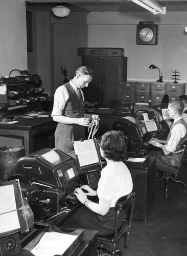 The Market News Room at U.S. Department of Agriculture (USDA) in February 1947. USDA Market News reporters have provided almost a century of insight for farmers and commodity trading.
