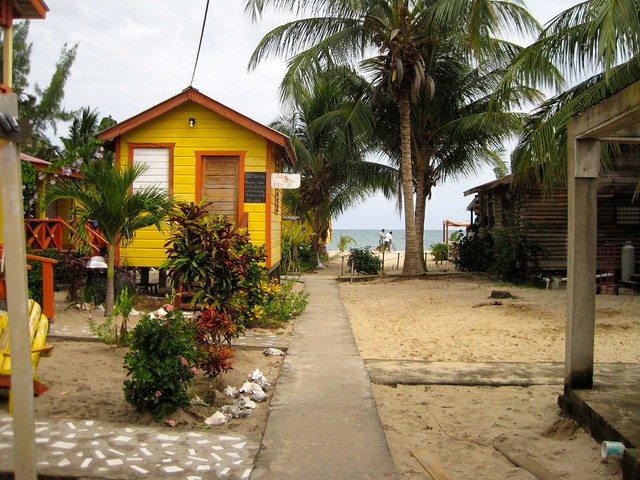 colorful sidewalk of placencia belize