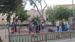 Taking a break at St Magí playground