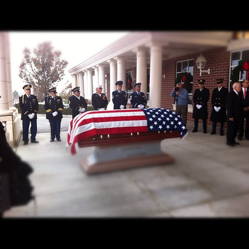 Went to the funeral today of a 96 yr o WWII silver star winning vet. Full military. Awesome.