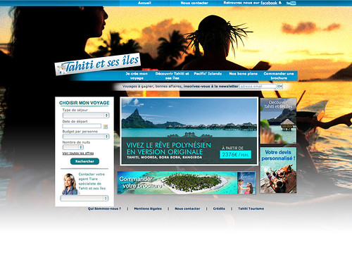 Mini-site Tahiti et ses îles (habillage pirogue)