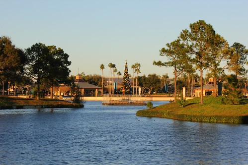 Chrismas tree and World Showcase Lagoon