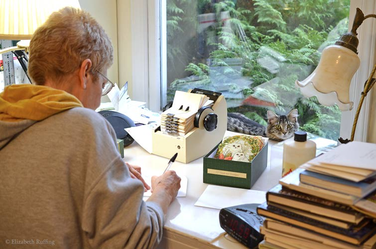 Bertie helps mom write Christmas cards, photo by Elizabeth Ruffing