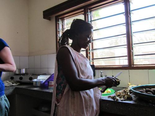 Auntie Rosemary prepares Matoke