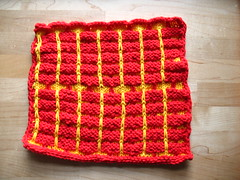 Ballband-style dishcloths, handmade knits