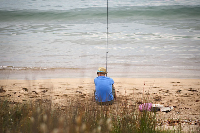 Fishing at Maloneys Beach, NSW, Australia