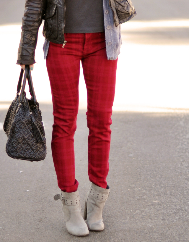 red plaid jeans-hudson jeans-bright jeans