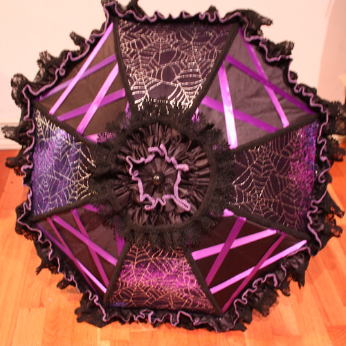 Laced Purple Spiderweb Parasol with Purple trim