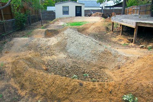 backyard pump track facing west after
