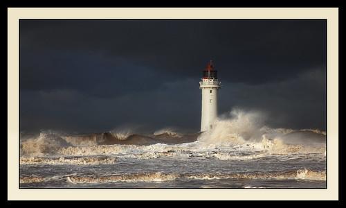 sea lighthouse seascape storm beach sunshine rain clouds danger liverpool canon dark landscape big sand waves wind estuary rough newbrighton choppy supershot 24100 perchrock 5dmark2 robstorm
