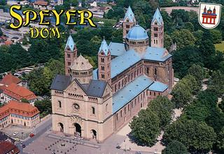 Billede af Dom zu Speyer. 2001 river cathedral dom postcard air imperial romanesque rhine rhein speyer rheinlandpfalz kaiserdom