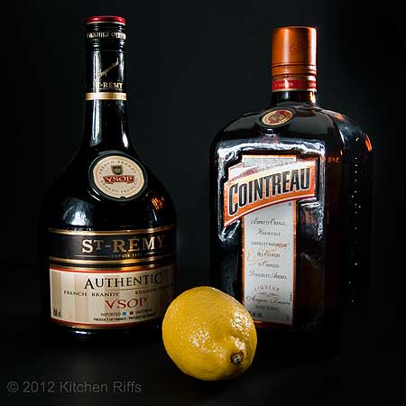 Ingredients for Sidecar Cocktail:  Cognac, Cointreau, and Lemon