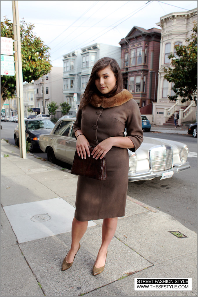 shannonskirtsuit street fashion style, vintage, skirt suit, heels, suede, fur, san francisco