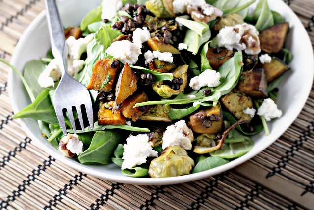 Spicy Squash Salad with Lentils, Brussels Sprouts and Goat Cheese ...