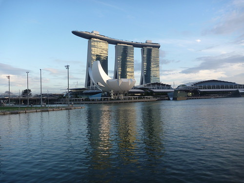 Marina Bay Sands Towers reflected