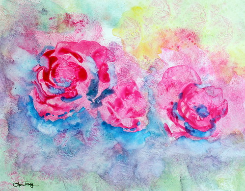 Abstract Watercolor Painting - Roses