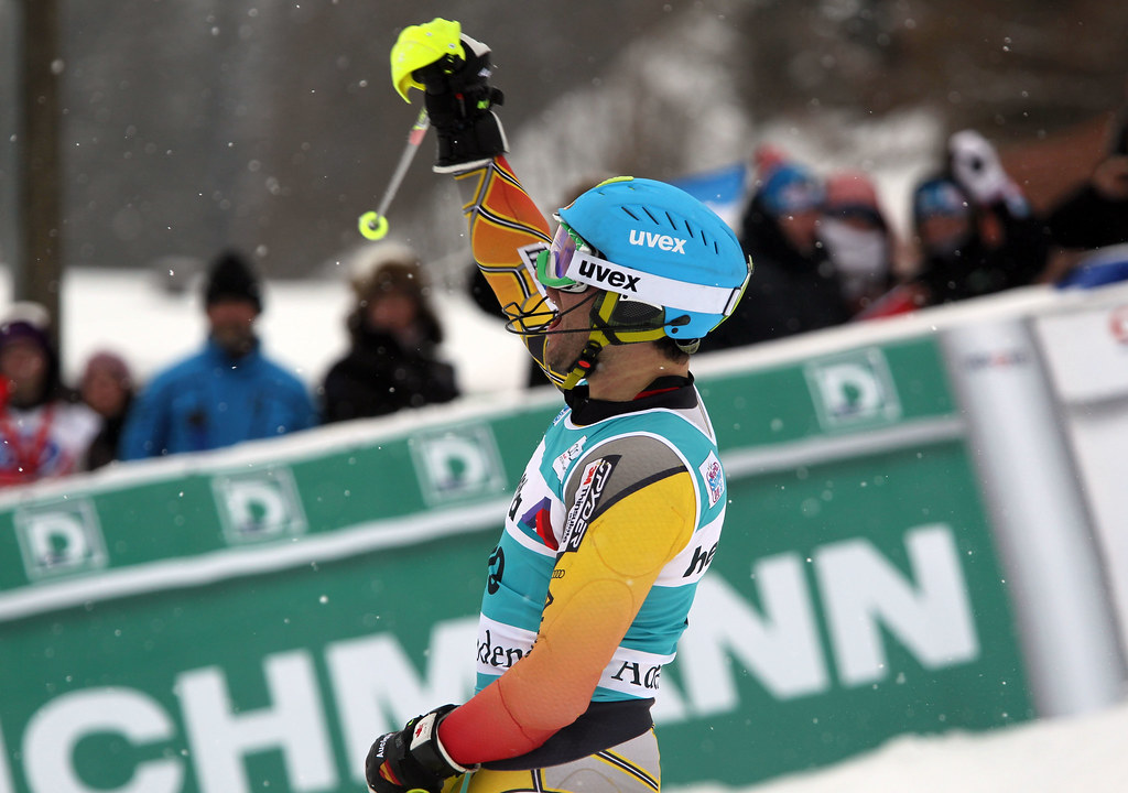 Mike Janyk celebrates after a great second run in the Adelboden, Switzerland men's slalom.