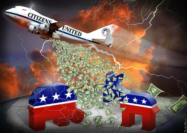 Citizens United Carpet Bombing Democracy Cartoon