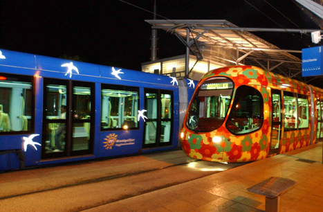 Montpellier France trams, livery design by Christian Lacroix