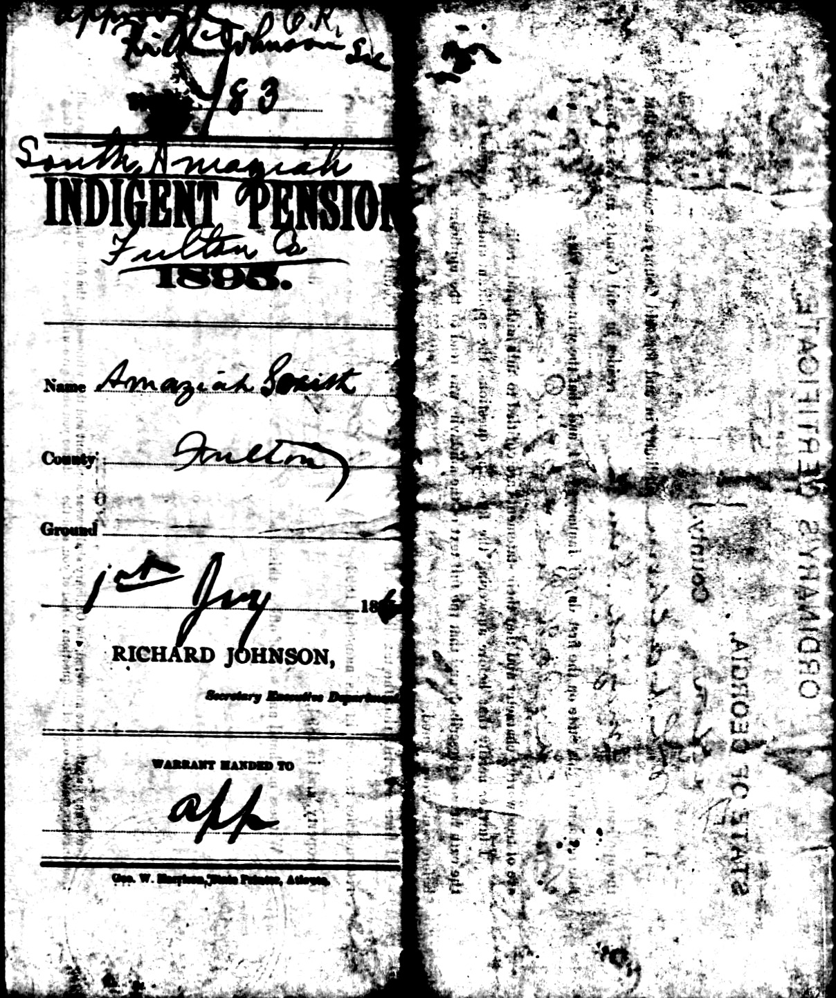 Amaziah South Confederate Pension Application