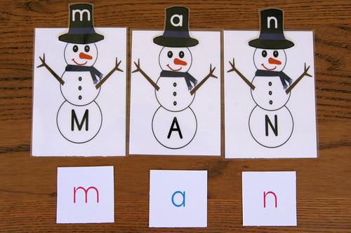 Snowman Movable Alphabet Spelling